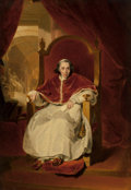 Fine Art - Painting, European:Antique  (Pre 1900), John Simpson (British, 1782-1847) After Sir Thomas Lawrence.Portrait of Pope Pius VII . Oil on panel. 45-1/2 x 32inche...