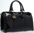 """Luxury Accessories:Bags, Chanel Black Patent Leather Tote Bag with Gold Hardware. VeryGood to Excellent Condition. 14"""" Width x 9.5"""" Height x7..."""