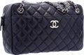 """Luxury Accessories:Bags, Chanel Navy Quilted Lambskin Leather Camera Bag with SilverHardware. Very Good Condition. 11.5"""" Width x 7"""" Height x3..."""