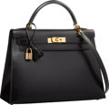 "Luxury Accessories:Bags, Hermes 32cm Black Calf Box Leather Sellier Kelly Bag with Gold Hardware. Very Good Condition. 12.5"" Width x 9"" Height ..."