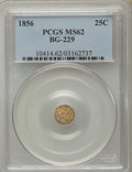 California Fractional Gold , 1856 25C Liberty Round 25 Cents, BG-229, R.4 MS62 PCGS. PCGSPopulation (44/46). NGC Census: (7/5). ...