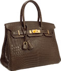 "Luxury Accessories:Bags, Hermes 30cm Matte Gris Elephant Nilo Crocodile Birkin Bag with GoldHardware. Excellent Condition. 12"" Width x 8"" Heig..."