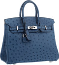 "Luxury Accessories:Bags, Hermes 25cm Blue Roi Ostrich Birkin Bag with Palladium Hardware.Excellent to Pristine Condition. 9.5"" Width x 8""Heig..."