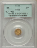 California Fractional Gold , 1881 50C Indian Round 50 Cents, BG-1069, High R.4 AU58 PCGS. PCGSPopulation (4/48). NGC Census: (1/4). ...