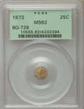 California Fractional Gold , 1873 25C Liberty Head Octagonal 25 Cents, BG-728, R.3 MS62 PCGS.PCGS Population (10/146). NGC Census: (5/48). ...