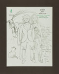 Autographs:Authors, Michael Korda Autograph Note Signed With Pencil Drawing. ...