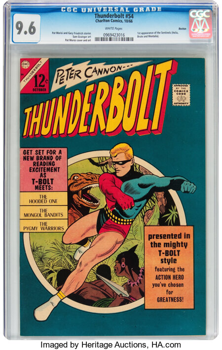Thunderbolt #54 Boston pedigree (Charlton, 1966) CGC NM+ 9.6 White pages....