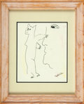Autographs:Celebrities, Phyllis Diller Signed Drawing. ...