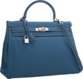 "Luxury Accessories:Bags, Hermes 35cm Blue Thalassa Clemence Leather Retourne Kelly Bag withPalladium Hardware. Excellent Condition. 14"" Width..."
