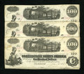 Confederate Notes:1862 Issues, T40 $100 1862 Three Consecutively Numbered Examples. This triocarries a Jan. 6, 1863 date that is just two days away from t...(Total: 3 notes)