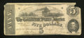Confederate Notes:1862 Issues, T53 $5 1862. The upper corners are broken and there is a faintstain under AMERICA. Fine, CC....