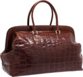 "Luxury Accessories:Travel/Trunks, Fendi Brown Crocodile Selleria Travel Bag. Very Good toExcellent Condition. 19"" Width x 13"" Height x 10"" Depth...."