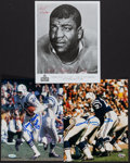 Football Collectibles:Photos, Johnny Unitas, Night Train Lane and Lenny Moore Signed Photographs (3)....