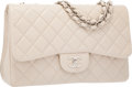 """Luxury Accessories:Bags, Chanel Beige Quilted Caviar Leather Jumbo Single Flap Bag withSilver Hardware. Excellent to Pristine Condition. 12""""W..."""