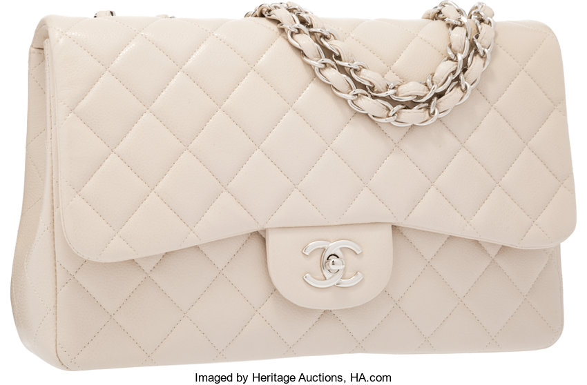 f47c7feda11c Chanel Beige Quilted Caviar Leather Jumbo Single Flap Bag