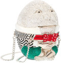 Luxury Accessories:Bags, Judith Leiber Full Bead Silver & Black Crystal Humpty DumptyMinaudiere Evening Bag. Very Good to Excellent Condition....