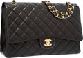"Luxury Accessories:Bags, Chanel Black Quilted Lambskin Leather Maxi Single Flap Bag withGold Hardware. Excellent Condition. 13"" Width x 9""Hei..."