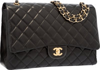 Chanel Black Quilted Lambskin Leather Maxi Single Flap Bag with Gold Hardware Excellent Condition