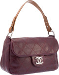 "Luxury Accessories:Bags, Chanel Burgundy Quilted Leather On The Road Flap Bag with SilverHardware. Excellent Condition. 13"" Width x 7"" Height..."