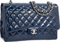 "Luxury Accessories:Bags, Chanel Navy Blue Quilted Patent Leather Maxi Single Flap Bag withSilver Hardware. Excellent Condition. 13"" Width x9""..."