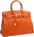 """Luxury Accessories:Bags, Hermes 35cm Orange H Togo Leather Birkin Bag with Gold Hardware.Excellent to Pristine Condition. 14"""" Width x 10""""Heig..."""