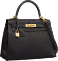 """Luxury Accessories:Bags, Hermes 28cm Black Chevre Leather Sellier Mou Kelly Bag with GoldHardware. Excellent Condition. 11"""" Width x 8"""" Height..."""