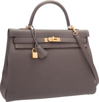 """Hermes 35cm Etain Togo Leather Retourne Kelly Bag with Gold Hardware Pristine Condition 14"""" Width"""