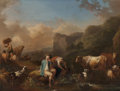 Fine Art - Painting, European:Antique  (Pre 1900), Christian Wilhelm Ernst Dietrich (German, 1712-1774). An Italianate Landscape with Figures Resting by a River with Cattle ... (Total: 2 Items)