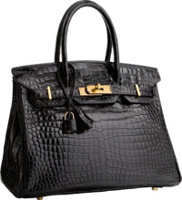 "Hermes 30cm Shiny Black Porosus Crocodile Birkin Bag with Gold Hardware Very Good Condition 12"" W"