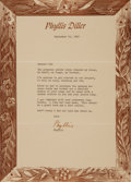 Autographs:Celebrities, Phyllis Diller Typed Letter Signed. Dated September 16, 1969. . ...