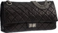 Luxury Accessories:Bags, Chanel Black Quilted Distressed Leather Reissue Jumbo East West Double Flap Bag with Silver Hardware. Good to Very Good Co...