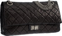 Chanel Black Quilted Distressed Leather Reissue Jumbo East West Double Flap Bag with Silver Hardware Good to Ve