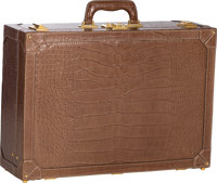 """Gucci Matte Brown Alligator Suitcase Bag with Gold Hardware Excellent Condition 24"""" Width x 17"""" H"""