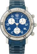 "Luxury Accessories:Accessories, Hermes Stainless Steel Clipper GM Chronograph with Blue PVC Wrist Strap. Excellent to Pristine Condition. 1.5"" Width x 6.5..."