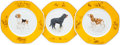 "Luxury Accessories:Home, Hermes Set of Fifteen; Yellow & White Limoges Porcelain ""ChiensCourants et Chiens d'Arret"", Sporting Plates. Excellent Co...(Total: 2 Items)"