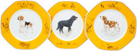 "Hermes Set of Fifteen; Yellow & White Limoges Porcelain ""Chiens Courants et Chiens d'Arret"", Sporting Plat..."