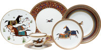 "Hermes Set of 78; Limoges Porcelain ""Cheval d'Orient,"" Fourteen Place Setting Excellent Condition"