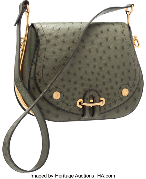 52b9f31437fb Hermes Vert Olive Ostrich Passe Guide Bag with Gold Hardware. Very ...