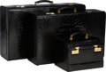 "Luxury Accessories:Travel/Trunks, Mark Cross Set of Three; Shiny Black Crocodile Suitcases and TrainCase. Good to Very Good Condition. 30"" Width x 18"" ...(Total: 3 Items)"