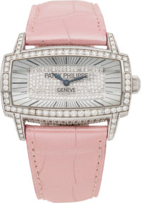 Patek Philippe Diamond & 18K White Gold Lady's Gemma Watch with Pink Alligator Strap Excellent Condition