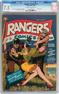 Golden Age (1938-1955):War, Rangers Comics #13 (Fiction House, 1943) CGC VF- 7.5 Off-white towhite pages....