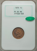 Proof Indian Cents: , 1870 1C PR64 Red and Brown NGC. CAC. NGC Census: (45/47). PCGS Population (105/45). Mintage: 1,000. Numismedia Wsl. Price f...