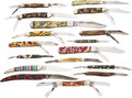 Edged Weapons:Knives, Lot Of 17 Decorative Folders....