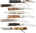 Edged Weapons:Knives, Lot of 8 Assorted Folders. ...