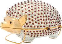Judith Leiber Full Bead Silver Crystal Hedgehog Minaudiere Evening Bag Very Good to Excellent Condition