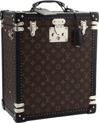 Louis Vuitton Special Order Monogram Macassar Canvas Cave Whiskey Trunk with Crystal & Silver Service Excellent