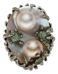 Estate Jewelry:Rings, Blister Pearl, Tsavorite Garnet, Gold Ring, Wendy Yue. ...