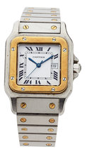 Estate Jewelry:Watches, Cartier Lady's Gold, Stainless Steel Santos Watch. ...