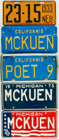 Books:Furniture & Accessories, [Automobiles]. Group of Five Rod McKuen Personally Owned LicensePlates, Circa 1933 - 1990. . ...