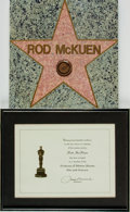 Books:Prints & Leaves, [Hollywood]. Rod McKuen's Framed Academy of Arts and SciencesMembership Certificate and Hollywood Walk of Fame Star Replica P...(Total: 2 Items)
